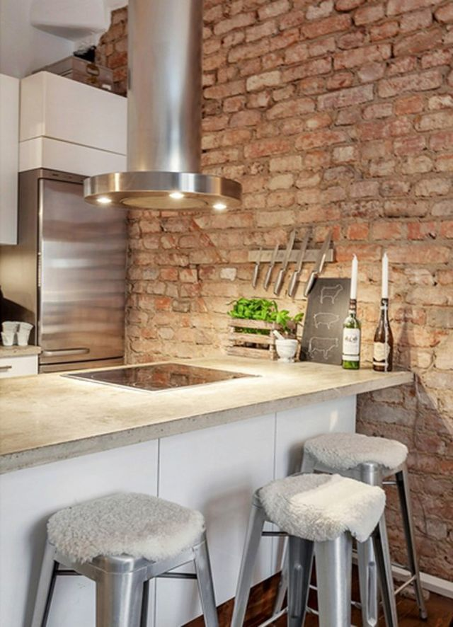 Brick wall in a kitchen ♥