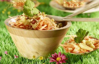 Salade carotte gingembre ananas, amandes Grillées au miel | Amandes Grillées Blue Diamond