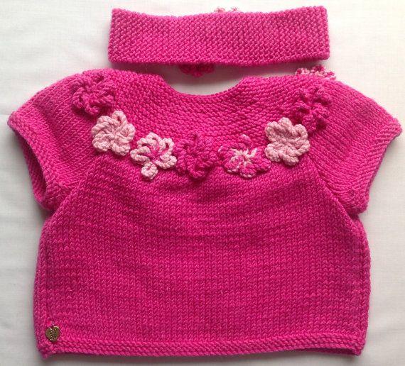Pink Baby Sweater Toddler Cardigan Girls Sweater by CJsHandknits