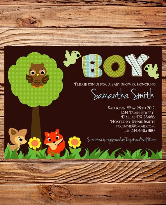 Forrest Animals Baby Shower Invitation, Forrest Animals Baby Shower, Boy, Girl, Baby Shower, brown, green, pink, fox, bird, owl by MsCitrus