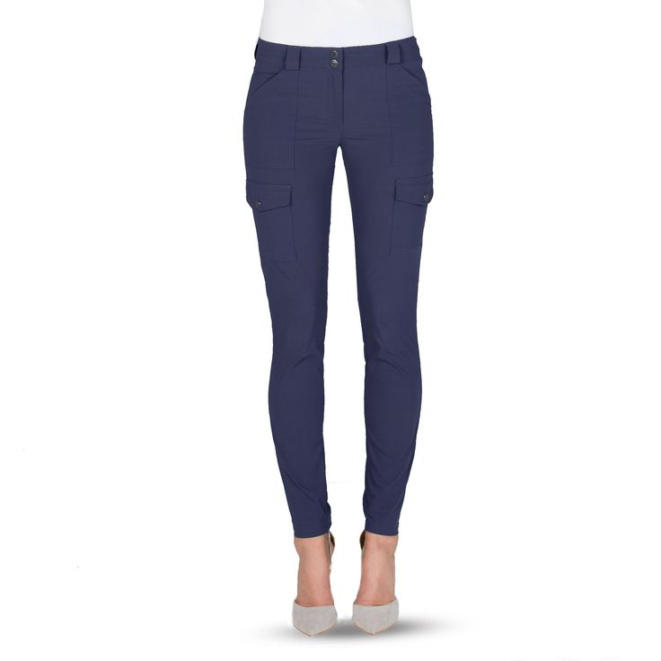 These Stretch woven skinny pants with cargo pockets are the best designer travel pants out there, because the Kate pants will not wrinkle, shrink, or fade.