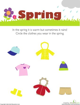 Getting Dressed: Preschool Seasons Worksheets   Education.com