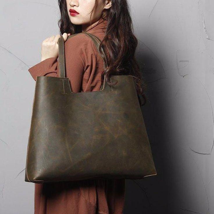 nanami top grain leather tote bag