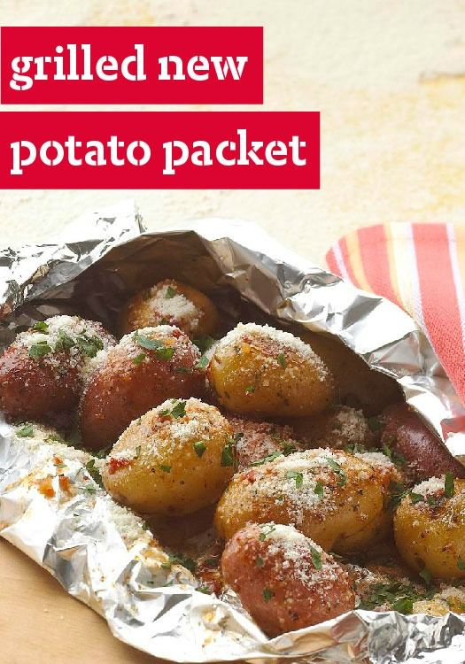 Grilled New Potato Packet — Get it all done on the grill this Father's Day with this foil-packet technique. New potatoes are infused with tangy dressing and savory Parmesan for a no-mess, delectable side dish. mamabeesfreebies.com