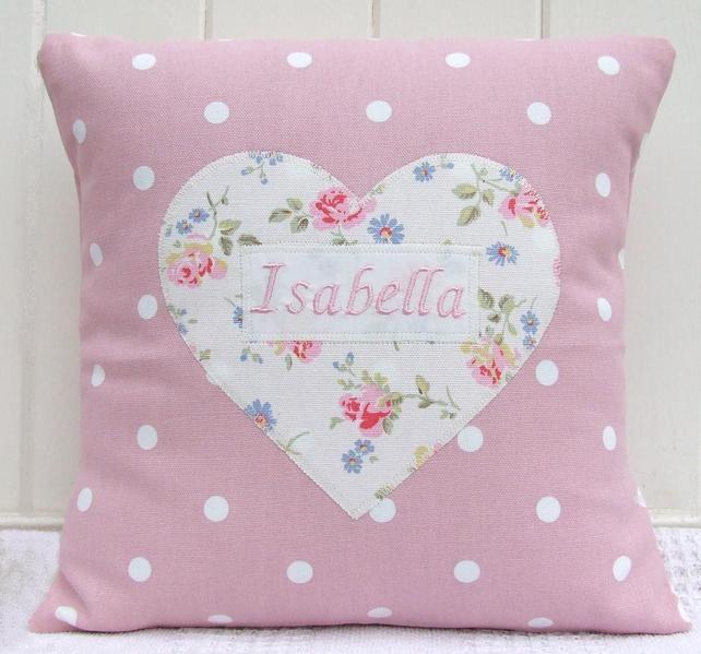 Personalised Girls Heart Cushion