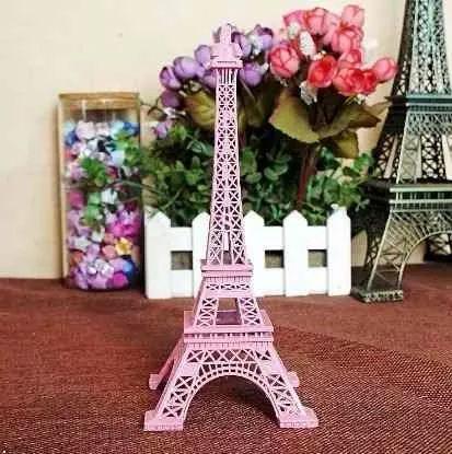 torre eiffel miniatura decorativa retrô rosa linda 18 cm