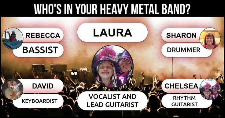 <b>Laura</b>, your own metal band - DARK HEROES is here and it looks something like this with your friends. This is what your Heavy Metal Band - DARK HEROES  looks like. Share this result with your friends and let them what will they do in the Band.