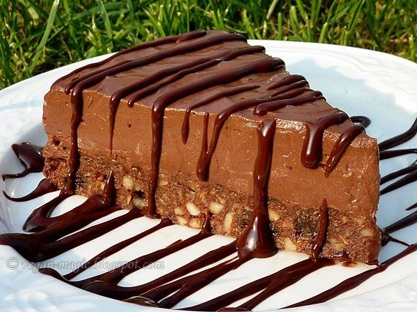 Silken tofu  is the wonder ingredient in most vegan chocolate mousse cakes, tarts and pies, cheesecakes, puddings, custards, triffles, even...