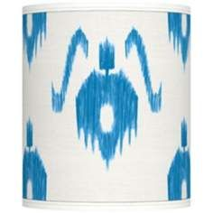 Blue Ikat Pattern Giclee Shade 10x10x12 (Spider) - Cool shades at Lamps Plus!