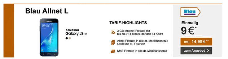 Günstiger Vertrag mit dem Samsung Galaxy J3 (2016) Dual Sim im Tarif Blau Allnet L inklusive 3 GB LTE Internet-Flat ,Telefon Allnet-Flat und einer SMS-Flat in alle dt. Netze mit 9,87 € rechnerische monatliche Grundgebühr im O2 Mobilfunknetz.