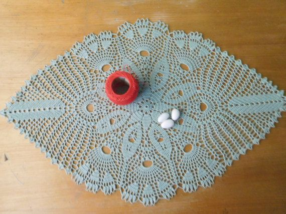 Oval olive crochet tablecloth 60x38cm or by ThreadloveByEdith