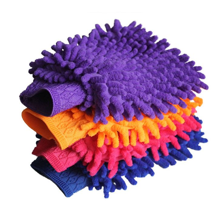 5pcs of gloves Double sided chenille clean car washing gloves wipe wash cloth glove wash supplies cleaning cloth glove