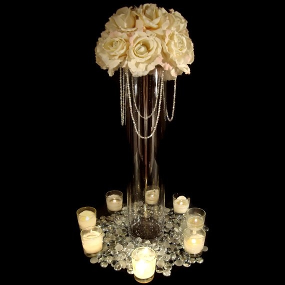 Tall Rose Centerpiece With Hanging Crystal Garlands