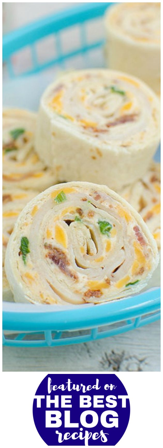 CHICKEN BACON RANCH PINWHEELS from Fake Ginger are #32 on our list of the BEST CHICKEN BACON RANCH DINNER RECIPES || Featured on The Best Blog Recipes with the original bloggers permission #dinner #pinwheels #cheese #appetizers