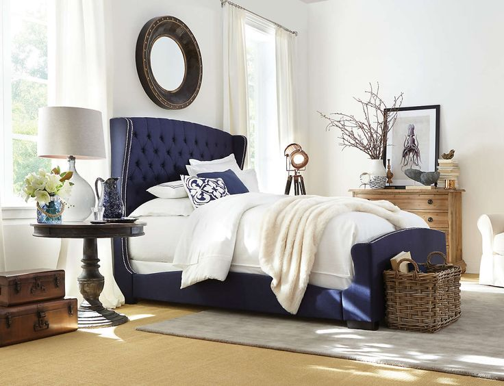 Naples Upholstered Bed Navy Blue Wrap Design Silhouette Button Tufted Headboard With