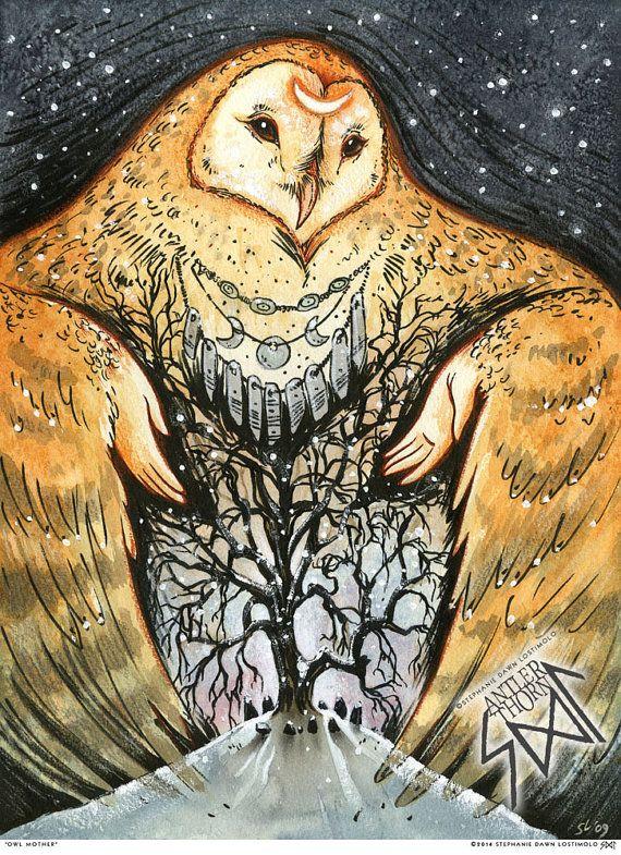 Mère de hibou hiver neige Triple déesse mains par AntlerThorn