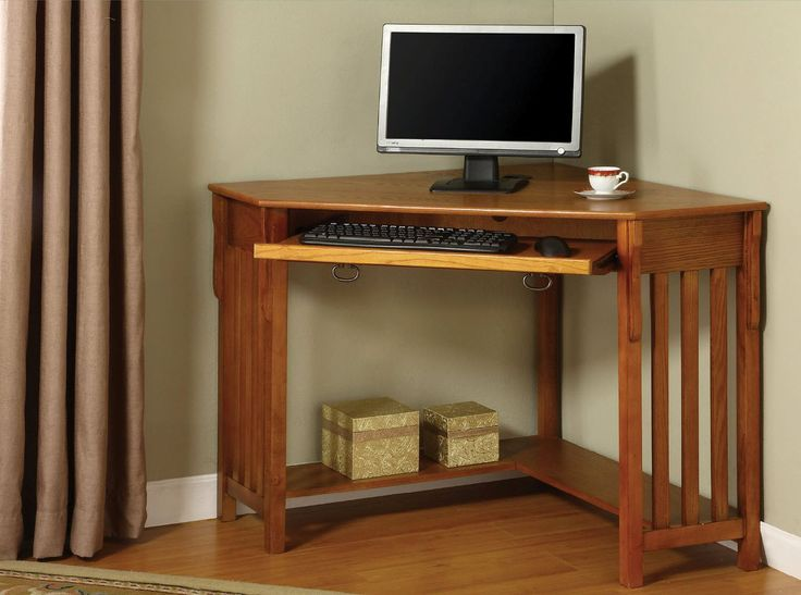 Fabulous Corner Computer Desks For Home Office Furniture : Wonderful Toledo  Oak Finish Corner Computer Desk Design With Keyboard Storage And Wooden  Floor ...