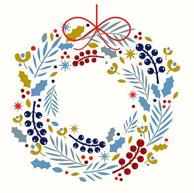 A Christmas wreath illustration designed for a range of greeting cards for Blackolive.