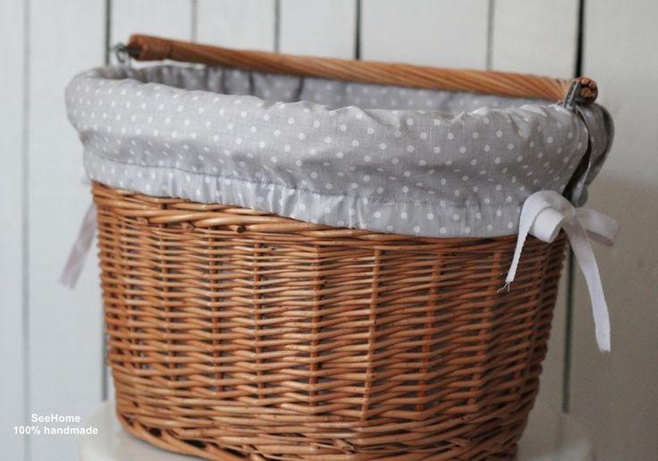 Koszyk na rower z bawełnianym wkładem w SeeHome made with passion na DaWanda.com