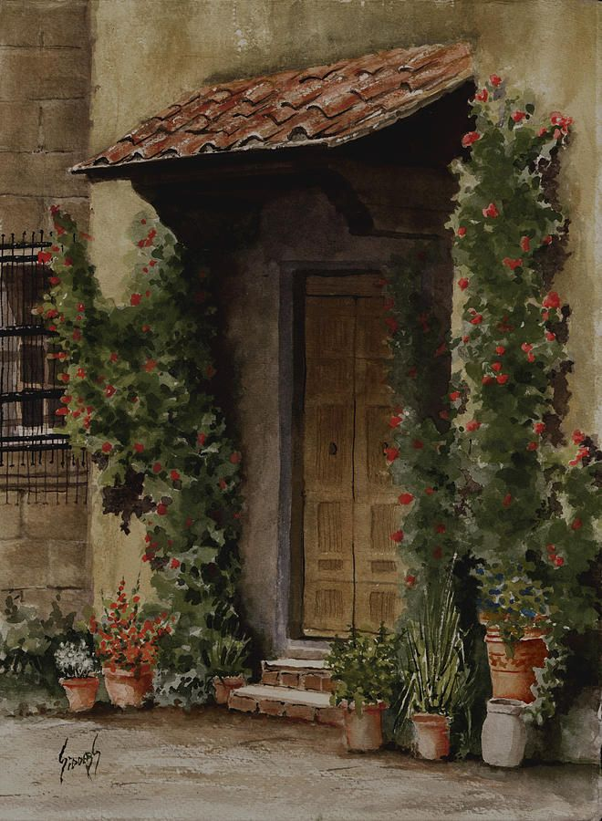 Door With Roses Painting by Sam Sidders - Door With Roses Fine Art Prints and Posters for Sale