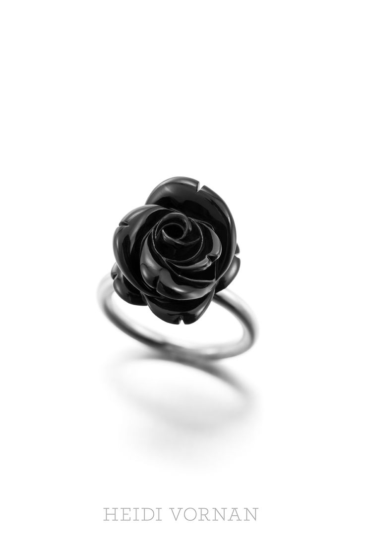 White gold ring with black rose, handcarved from onyx. Unique piece. Price 2200€ (VAT 0%) Design Heidi Vornan Photo Mikael Pettersson