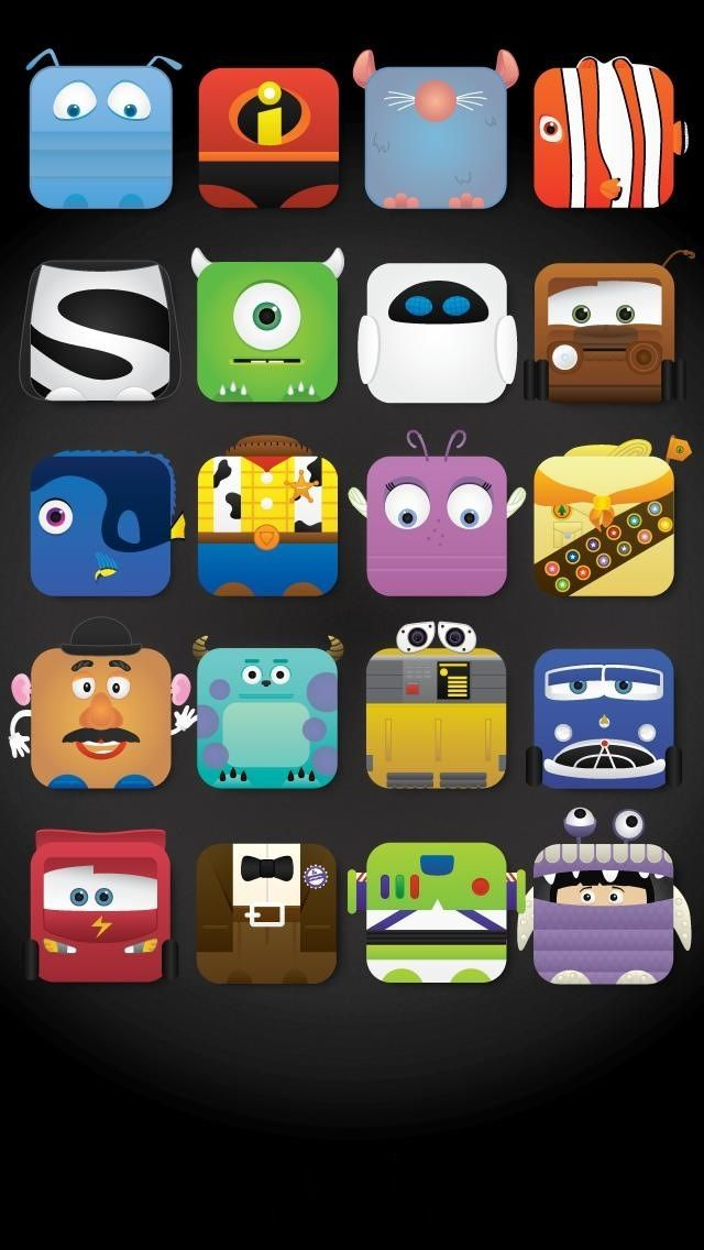 Disney Characters icon frame iPhone 5 wallpaper Cute