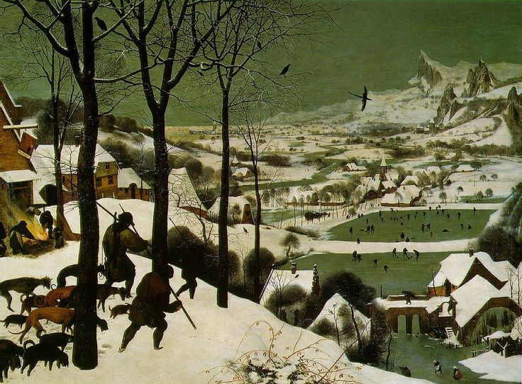 Pieter Breughel the Elder, The Hunters in the Snow, 1565.  I am amazed by the depth in this painting and by how it captures so much action frozen in a single moment.