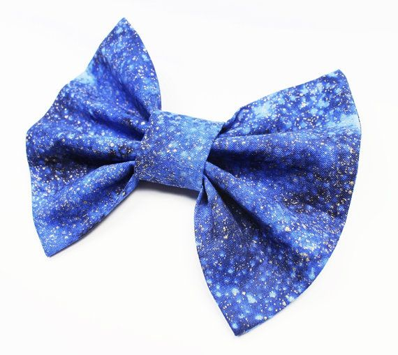 Blue Hair Bow  Stars Hair Bow Space Hair Bow  by DressYourTresses, $4.75