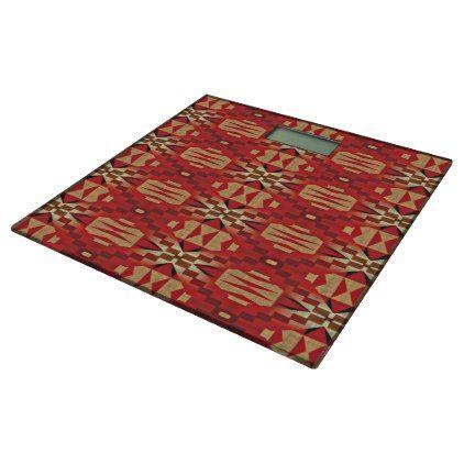 Red Brown Beige Orange Eclectic Ethnic Art Bathroom Scale - pattern sample design template diy cyo customize