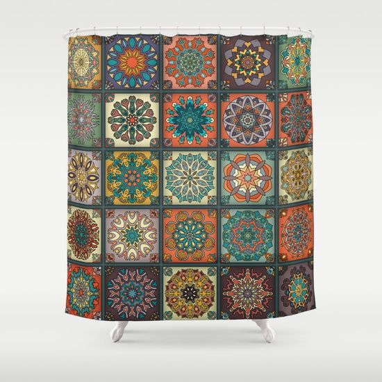 Vintage patchwork with floral mandala elements Shower Curtain