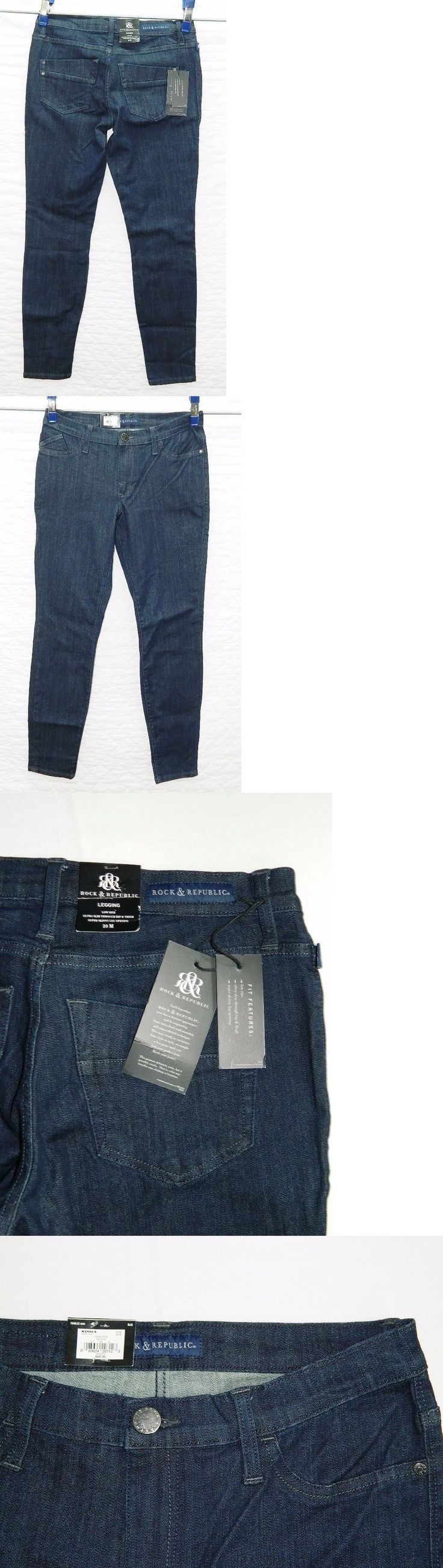 Jeans 11554: New Women S Rock And Republic Kashmiere Dark Blue Legging Jeans Stretch Low Rise -> BUY IT NOW ONLY: $37.8 on eBay!