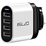 Elzo USB Wall Charger 32W 6.4A 4-Port UK Mains Plug with iSmart 2.0 Technology Compatible with iPhone X/8/7/6, iPad, Android Samsung Galaxy, Note 8, Tablet and More (Black&White)