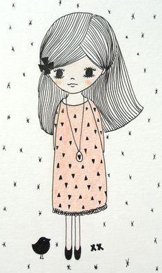 illustration girl   illustratie meisje   kids room www.kinderkamervintage.nl