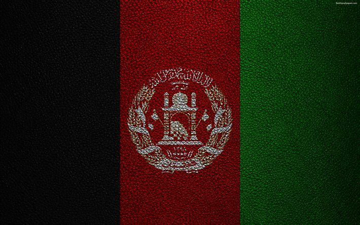 Download wallpapers Flag of Afghanistan, 4K, leather texture, Afghanistan flag, Asia, world flags, Afghanistan