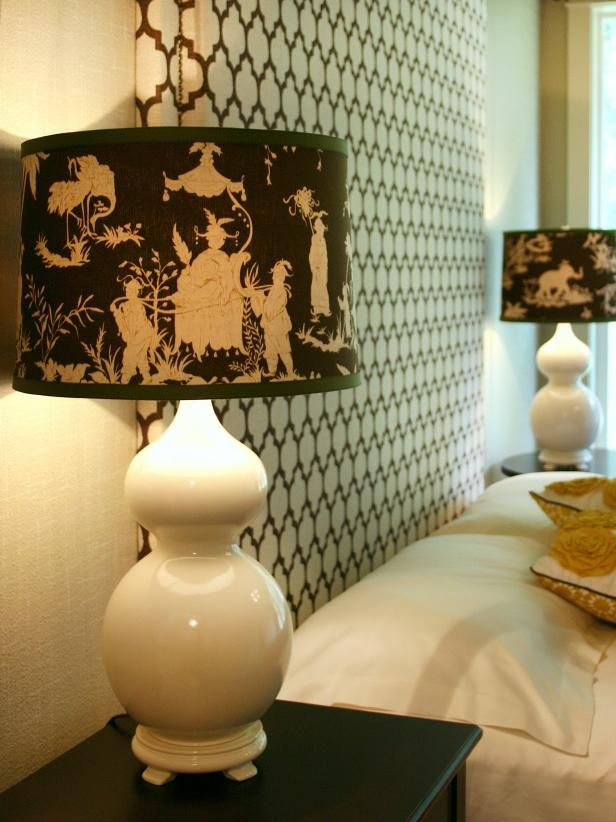 How to create a custom fabric-covered lampshade --> http://www.hgtv.com/design/rooms/bedrooms/custom-fabric-covered-lampshade?soc=pinterest