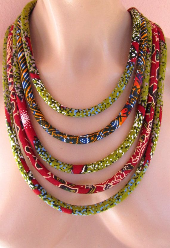 Ethnic tribal necklace/ statement jewelry/ fabric necklace /multi strand…