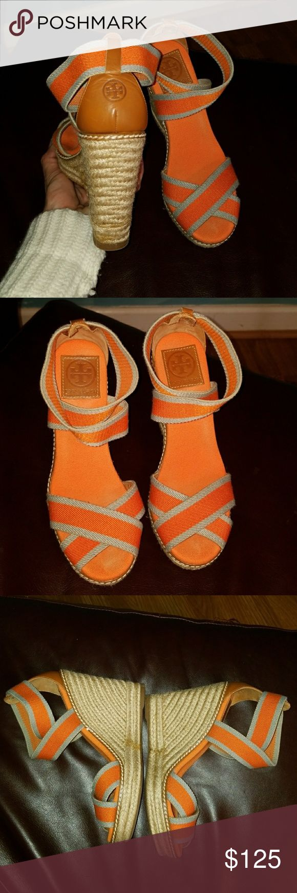 TORY BURCH ESPADRILLE STRAPY WEDGES ORANGE/GRAY 7 This is an amazing pair of AUTHENTIC TORY BURCH espadrille strap wedge heel shoes. Ladies 7M. Gray/Orange in color with Brown Leather Trim. Super cute logo on back of heel. Worn once for a couple hours they are basically brand new! 4.5 wedge height. Tory Burch Shoes Wedges