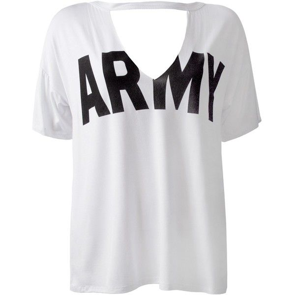 Sans Souci White army choker v cut-out tee ($16) ❤ liked on Polyvore featuring tops, t-shirts, white, cut out t shirt, cut out v neck t shirt, graphic design t shirts, v neck t shirts and army t shirt