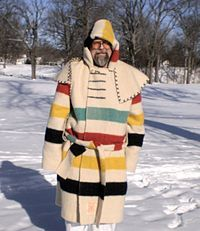 Traditional capote made with a Hudson's Bay point blanket - I WANT one!!