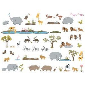 Decoloopio.com – Planche géante de 50 stickers Savane : Ces 50 stickers savane vous proposent les plus grands animaux  : lions, zèbres, léopard, éléphant, hippos, gazelles, girafes, flamans  roses, singes, vautours, autruches... vont transformer la chambre et la  salle de jeu des enfants en une véritable réserve africaine ! . Idéal pour décorer la chambre de votre enfant – Stickers Jungle & Savane