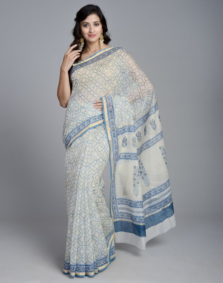 Silk Cotton Chanderi Printed Jaal Sari