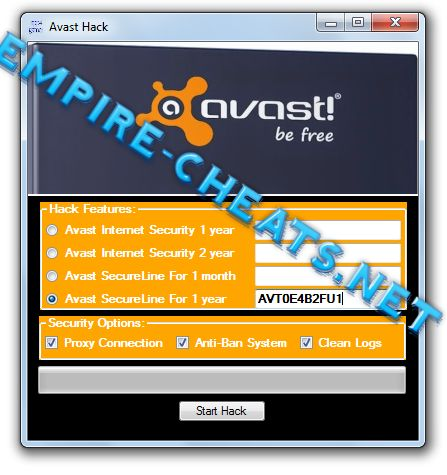 Avast Hack Cheat Livense Generator Features:   	Avast Internet Security 1 year license code  	Avast Internet Security 2 years license code generator  	Avast SecureLine VPN for android, ios, windows 1 month or 1 year license generator  	All security options  	Proxy connection, anti-ban system,