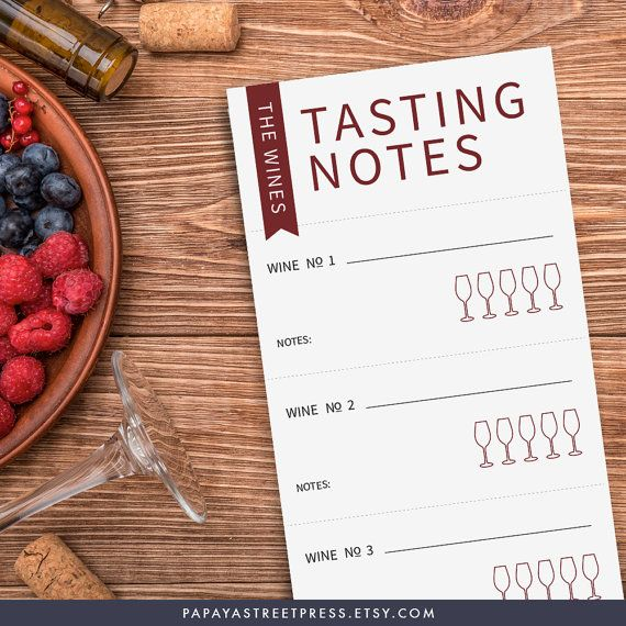 Printable wine tasting scorecard wine tasting by papayastreetpress