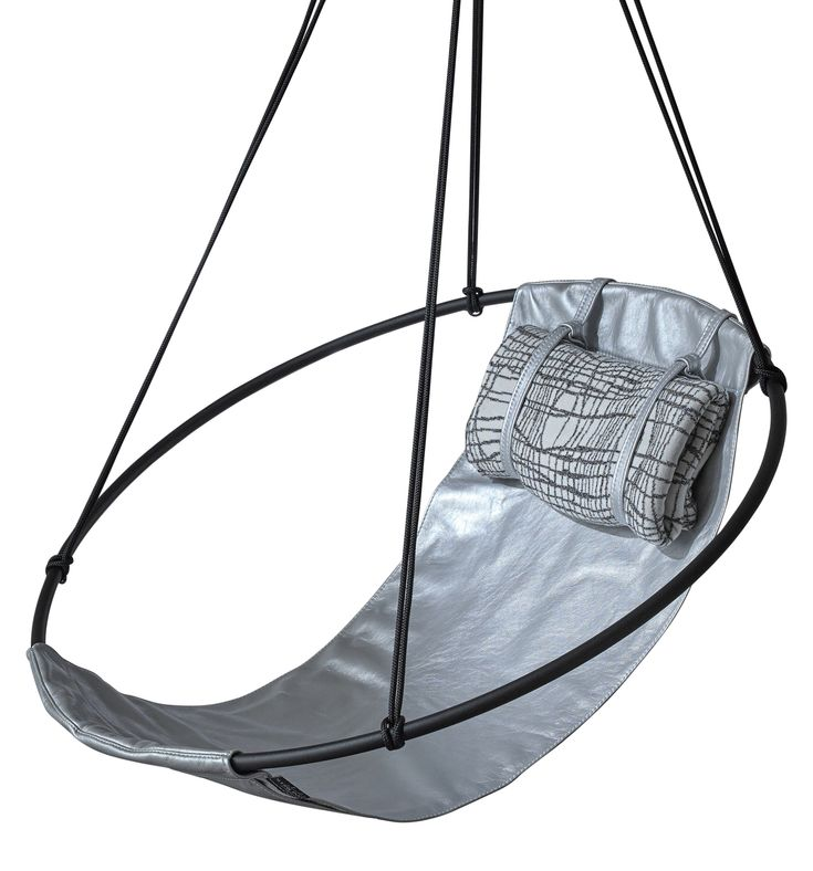 Buy Sling Hanging Swing Chair, Silver Metallic Leather by Studio Stirling - Made-to-Order designer Furniture from Dering Hall's collection of Contemporary Industrial Transitional Accent & Occasional.