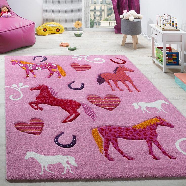 Kinderzimmer Teppich Kinderteppich Pferde Huf Herz Motive Konturenschnitt Pink Kinderteppiche