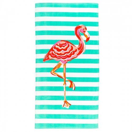 Flamingo Stripe Beach Towel In 2020 Embroidered Beach Towel
