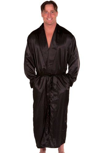 Black Mens Satin Robe