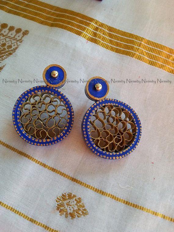 ultramarine blue quilled earrings,paper earrings,blue colored quilled earrings,ultramarine stud earrings