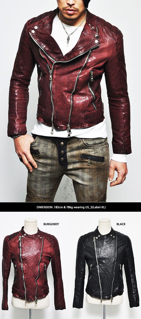 Outerwear :: Designer Homme Seaming Crinkle Lambskin Biker-Leather 60 - Mens Fashion Clothing For An Attractive Guy Look