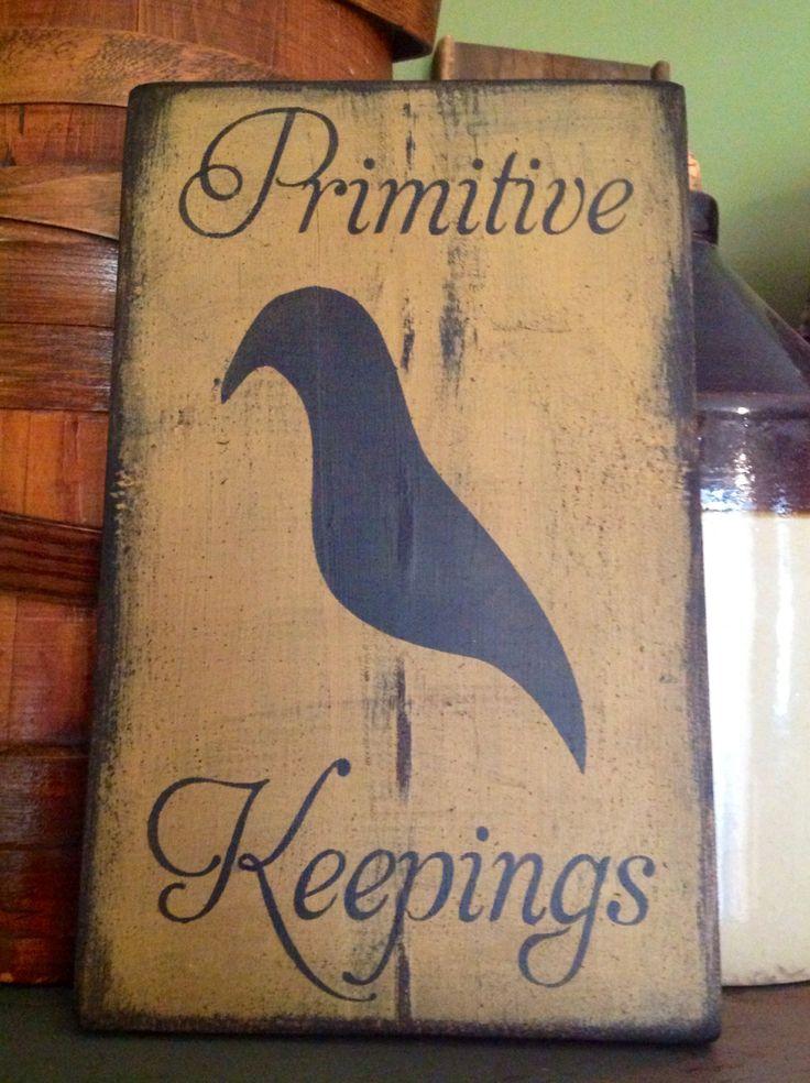 Hand stenciled primitive sign Primitive by LoverOfAllThingsPrim, $19.00